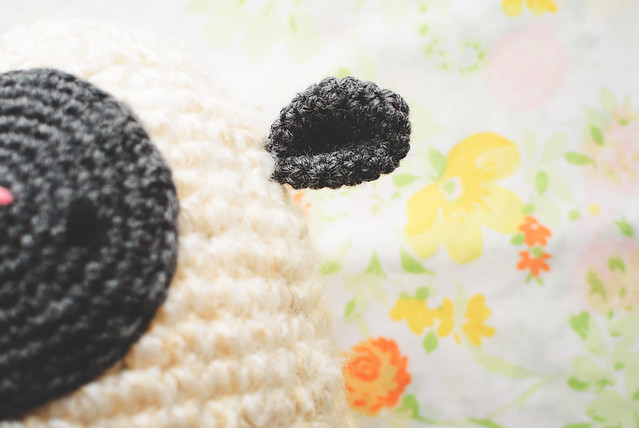crochet lamb egg ear