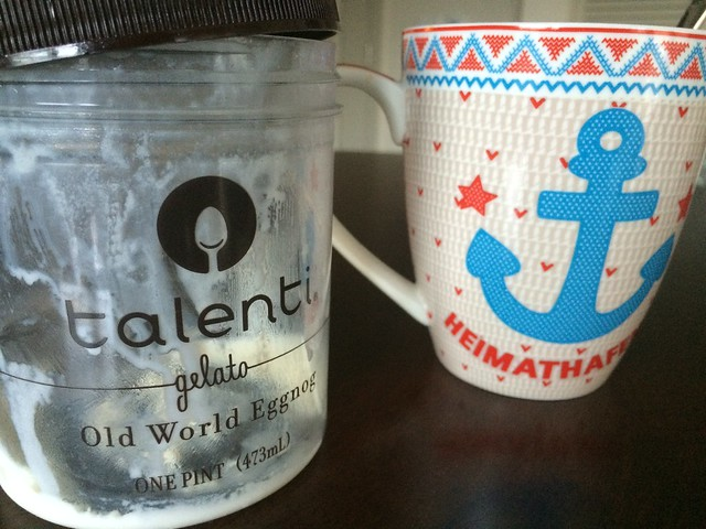 Morning coffee with Talenti eggnog gelato
