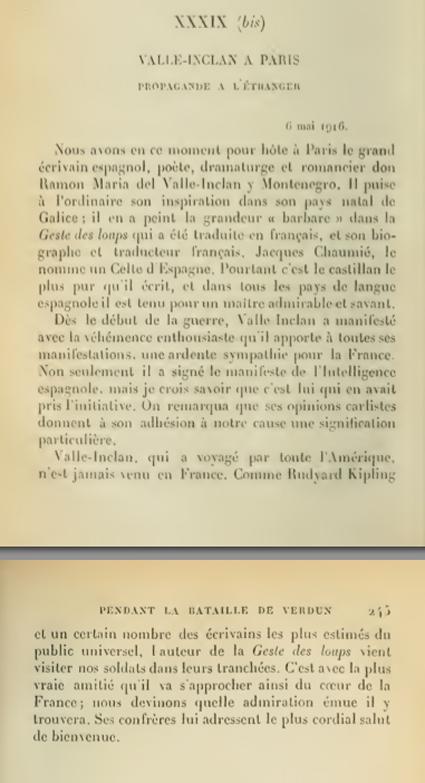 14l31 MBarres Valle Inclán en París De su libro El alma de Francia y la guerra  Uti 425