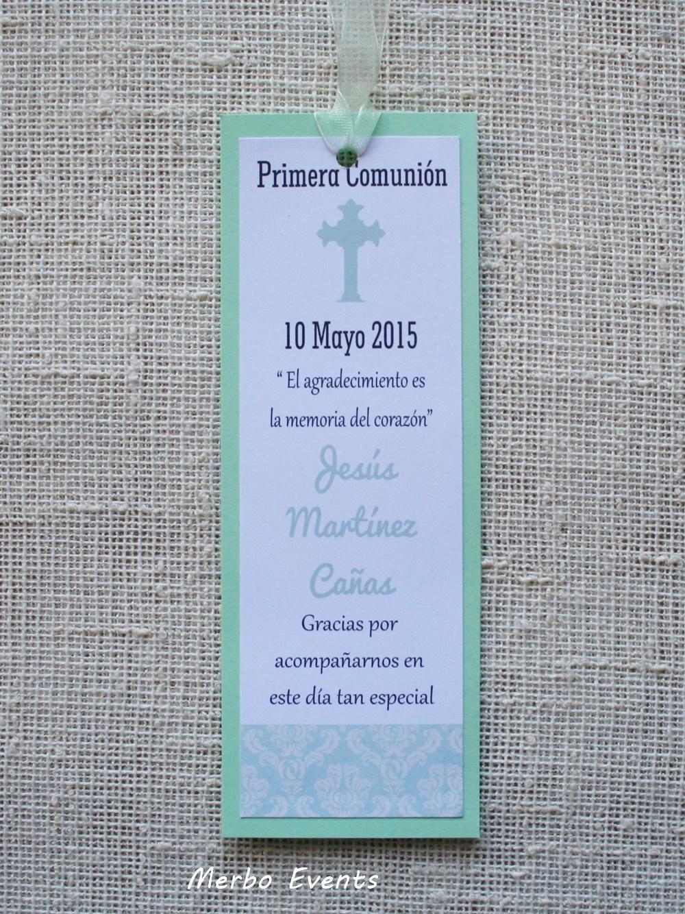 Conjunto invitaciones y punto de libro comunión niño Modelo Mint  Merbo Events