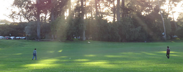 playing frisbee at Big Rec Baseball Diamond in Golden Gate Park, San Francisco (2015)