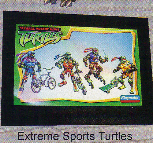 "LEE'S TOY REVIEW #xx, pg. 32 / ""TOY FAIR 2003 DECLASSIFIED"", TMNT - 2k3 Waves 2-4 peek; 'EXTREME SPORTS TURTLES' designs by Michael Dooney  (( xx, 2003 ))"