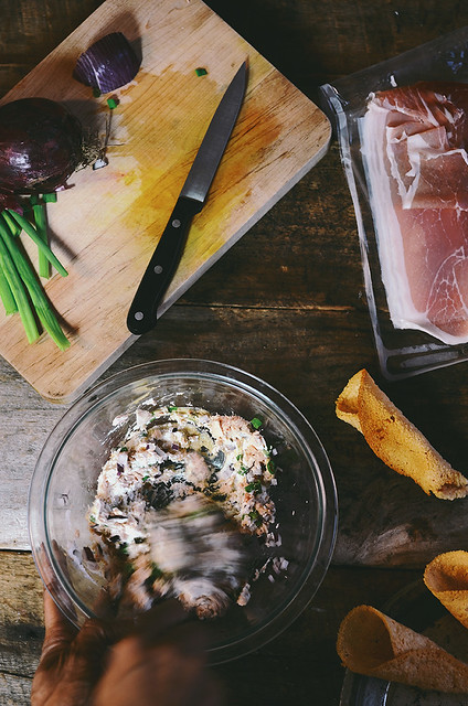 Parmesan Tuiles with Spicy Tuna Ricotta and Proscuitto Salad | A Brown Table