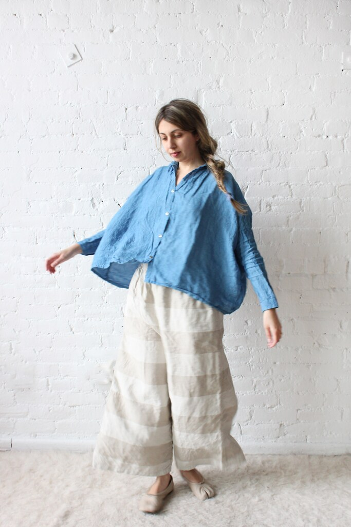 Ichi Antiquites Gather Wide Shirt and Border Pants