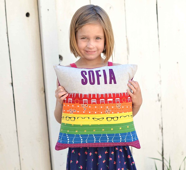 sewing for birthdays - rainbow pillow
