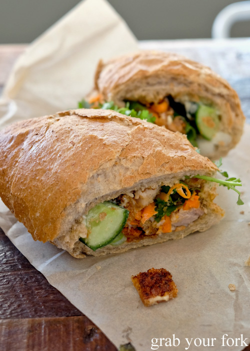 12 hour roast pork crackling banh mi at Great Aunty Three, Surry Hills