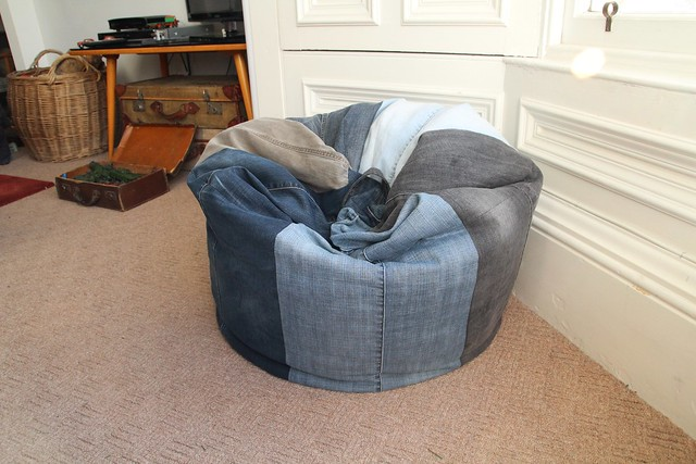 Upcycled denim beanbag