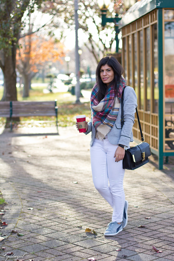 grey sweatshirt blazer, white jeans, plaid scarf-1.jpg
