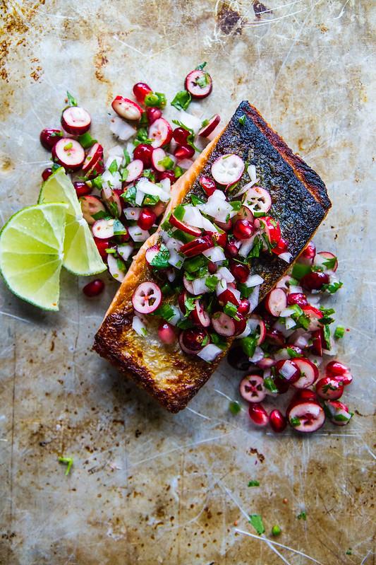 Crispy Salmon with Winter Fruit Salsa