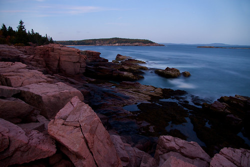 ocean longexposure seascape water landscape evening coast nationalpark scenery rocks waves stones maine boulders shore granite geology acadia mountdesertisland