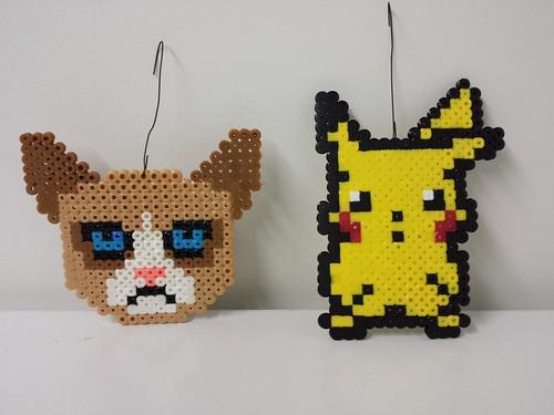 Grumpy Cat and Pikachu Ornaments