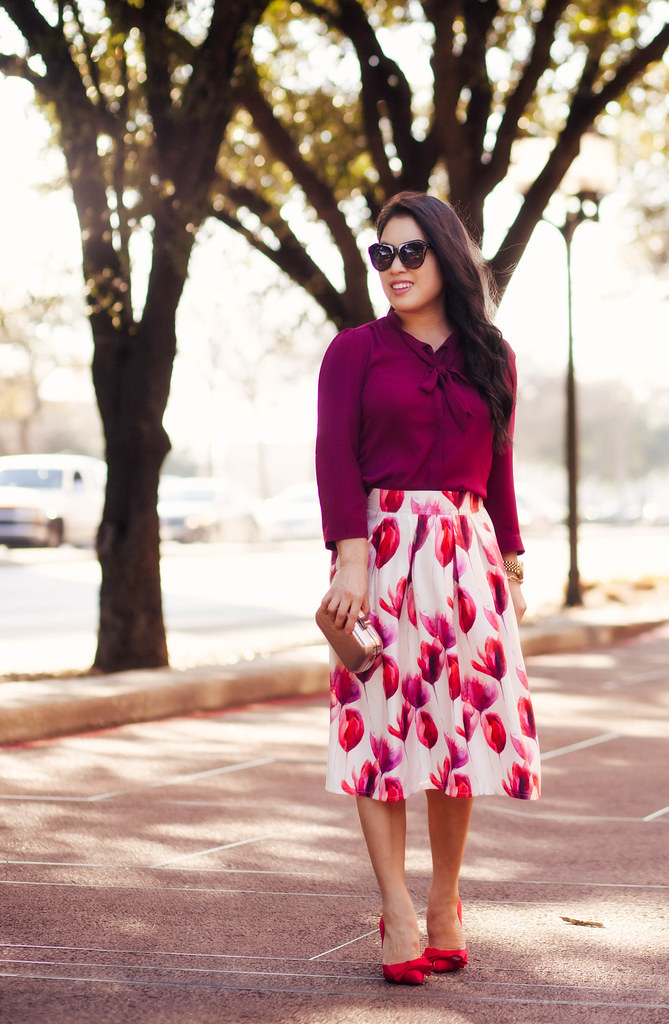 Tulip Midi Skirt   Shades of Red - cute & little