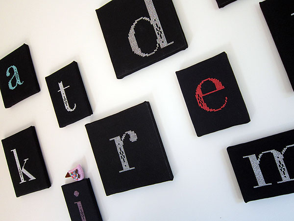 Stitchery alphabet wall