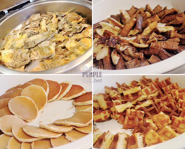 F1 Hotel Breakfast frittata, french toast, pancake, waffle