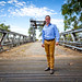 Small photo of Jeremy Buckingham on old Wilcannia bridge