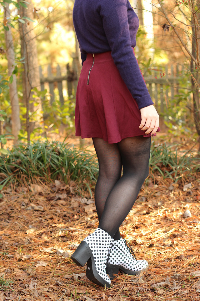 Maroon Skater Skirt and White Polka Dot Boots