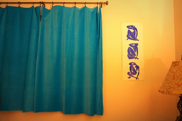 blue nude and blue curtain