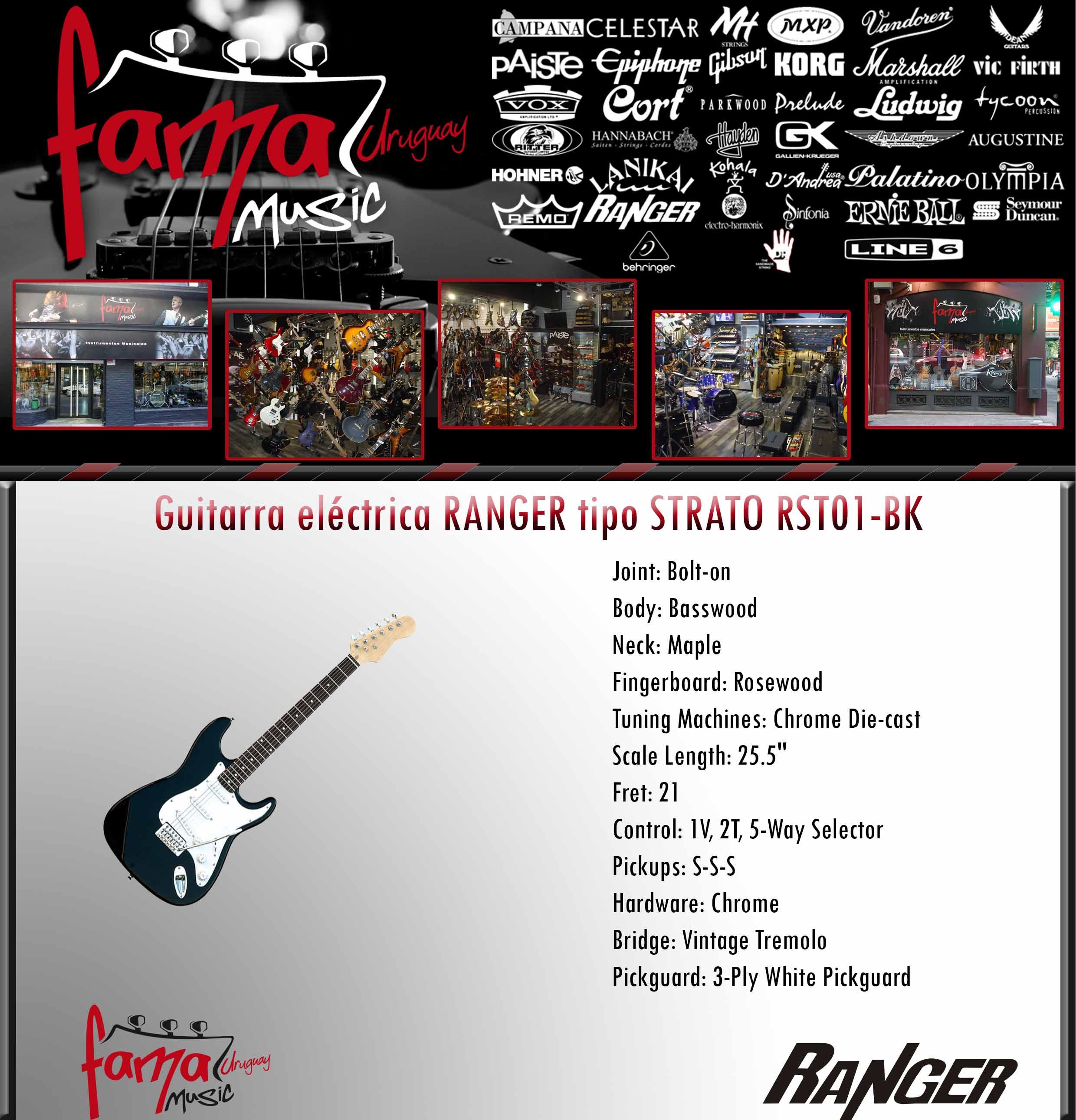 Guitarra eléctrica RANGER tipo STRATO RST01-BK