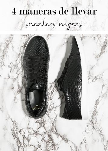 4 maneras de llevar sneakers negras con efecto piel de cocodrilo