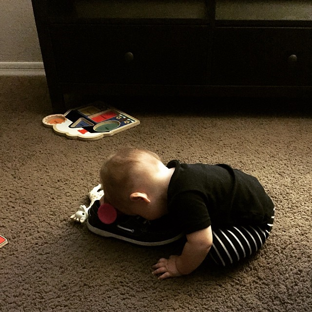 Sometimes you miss naps and have to sleep on some shoes instead. #babylife by bartlekid