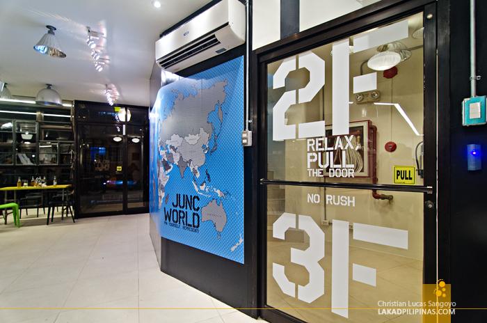Lobby of Junction Hostels in Makati City