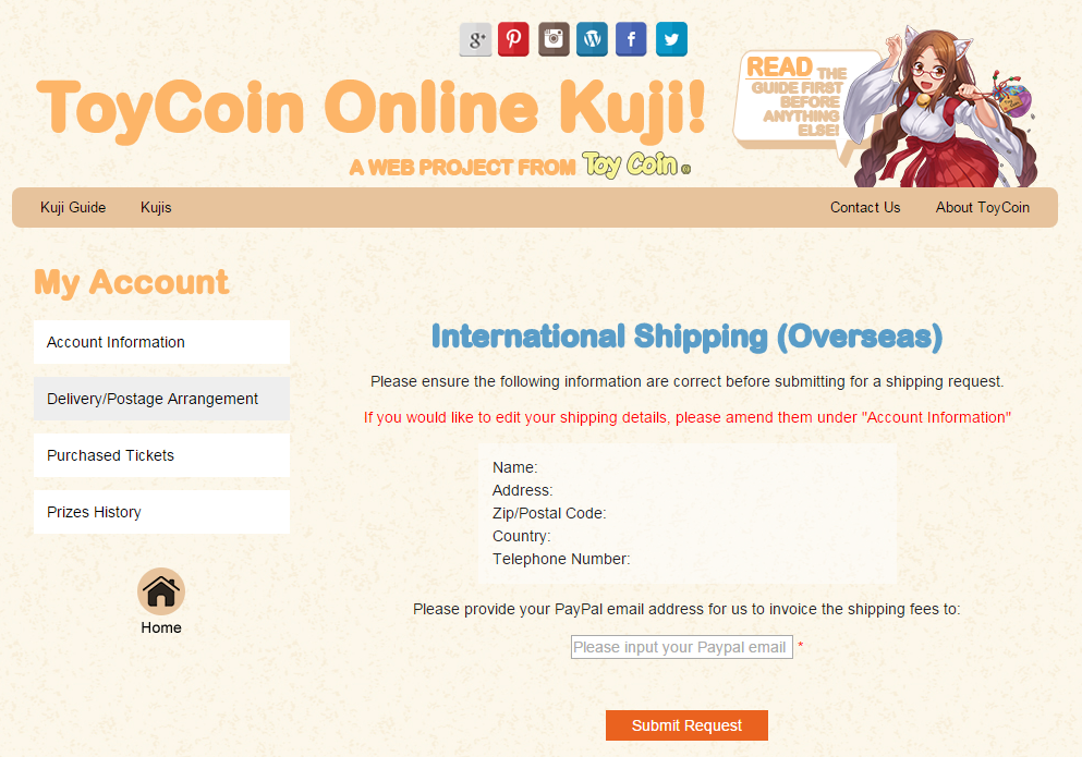 Kuji Toycoin delivery oversea