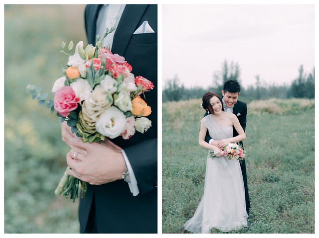 Lovescapade, Multifolds, pre wedding, field, gown and suit, Kacey Teh Makeup, bouquet, love