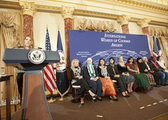 Deputy Secretary of State Heather Higginbottom presents 10 extraordinary women from 10 countries with the 2015 Secretary of State's International Women of Courage Award at the U.S. Department of State in Washington, D.C., on March 6, 2015. [State Department photo/ Public Domain]