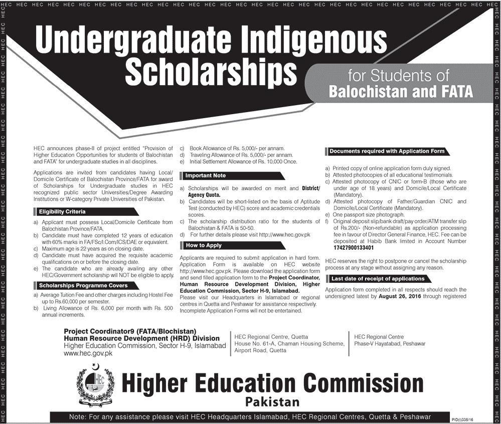 HEC Indigenous Scholarships for Students of Balochistan and FATA