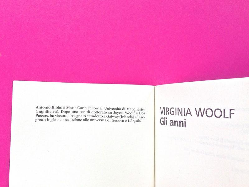 Gli anni, di Virginia Woolf. Feltrinelli 2015. Art dir.: Cristiano Guerri; alla cop.: ill. col. di Carlotta Cogliati. Nota bio-bil. del trad. frontespizio, a p. 4 e 5 (part.), 1