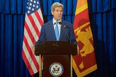 U.S. Secretary of State John Kerry speaks during a news conference in Colombo, Sri Lanka, on May 2, 2015, after a series of meetings with President Maithripala Sirisena, Prime Minister Ranil Wickremesinghe, and Foreign Minister Mangala Samaraweera.  [State Department Photo/Public Domain]