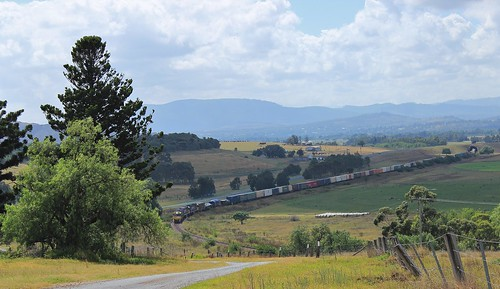 3x NR class locos lead train #6BA6, Brisbane to Adelaide goods, seen here just west of Muswellbrook.