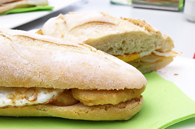 squid and fried egg bocadillo