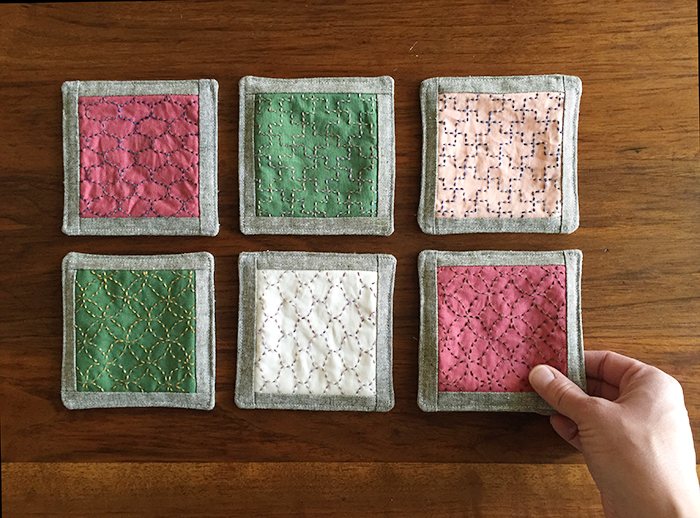 Sashiko Coasters for Handstitched Class at Stitched in Color