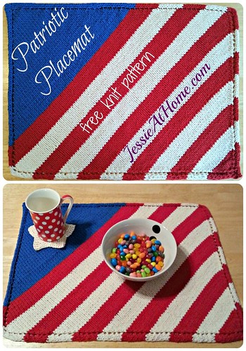 Patriotic Placemat ~ Free Knit Pattern by Jessie At Home, with video