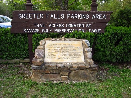 Greeter Falls Parking Area Sign