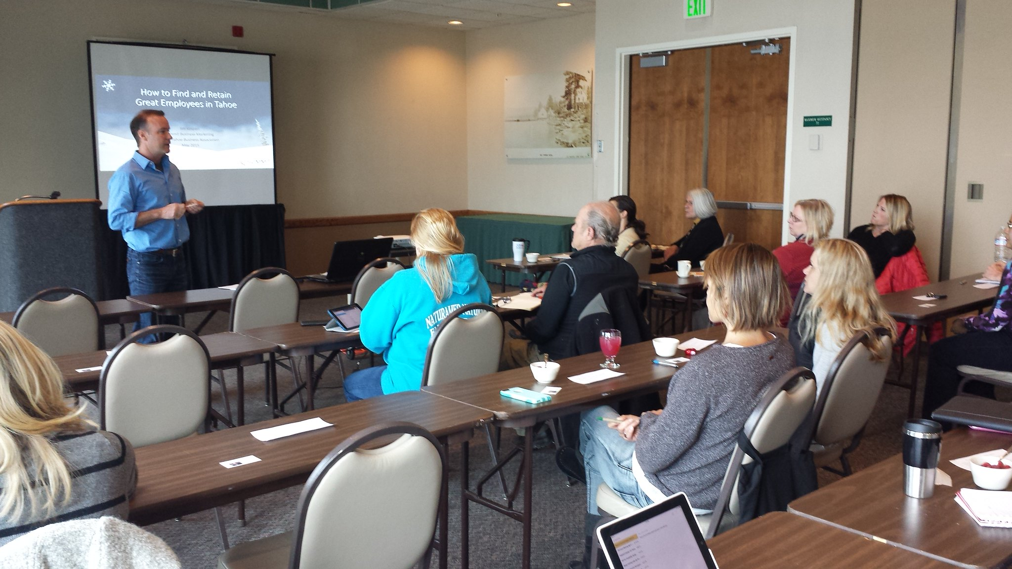 North Tahoe Business Association Small Business Seminars on May 7, 2015 How to Find and Retain Great Employees in North Lake Tahoe Reno areas 17 people got great tips and secrets from speaker Jim Kaspari of PEAK Business Coaching.