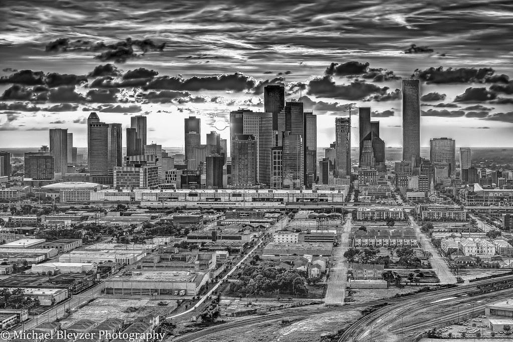 Houston Sunset in B&W