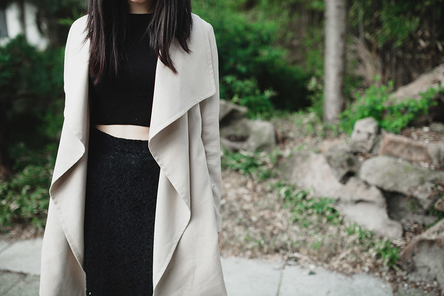 black and nude outfit