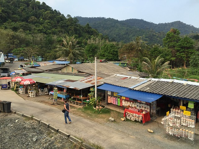 Vendors and jungle near the boat dock