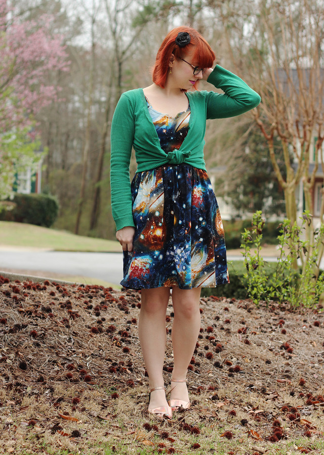 Modcloth Heart and Solar System Galaxy Print Dress, Green Cardigan, and Holographic Flats