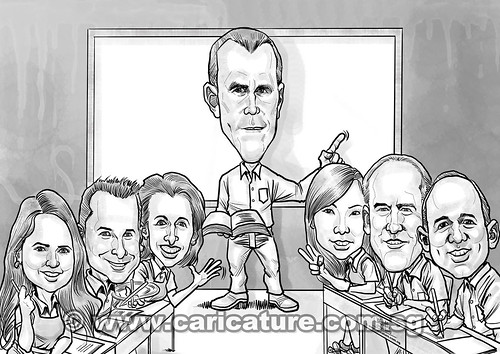 digital classroom teacher student group caricatures for eBay (A4) watermarked