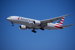 American Airlines B-777 on short final at LAX