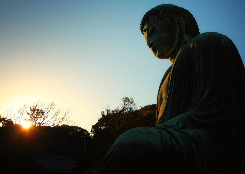 Kamakura Daibutsu At Sunset