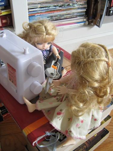 Brigit plays with scissors