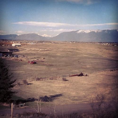 Looking toward Glacier Park with Reynold's Peak visible. #kalispell #montana #mountain #bigsky #glacierpark