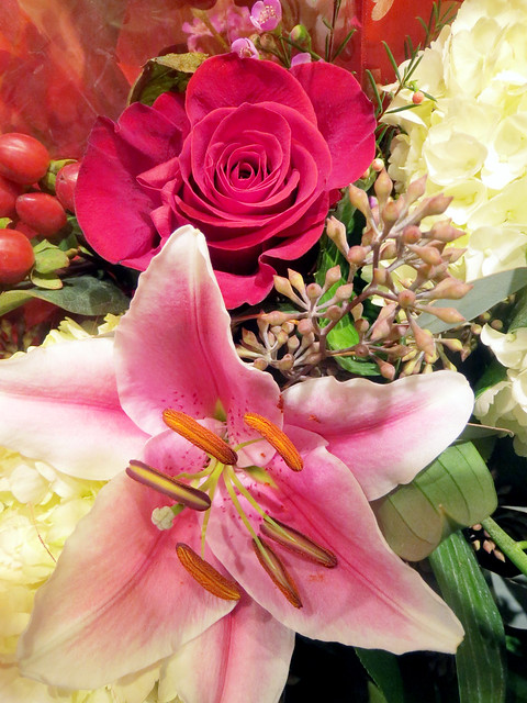 Lily and Rose Flower Bouquet
