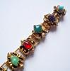 Vintage Victorian Style Goldtone Bookchain Bracelet with Multi-Color Stones