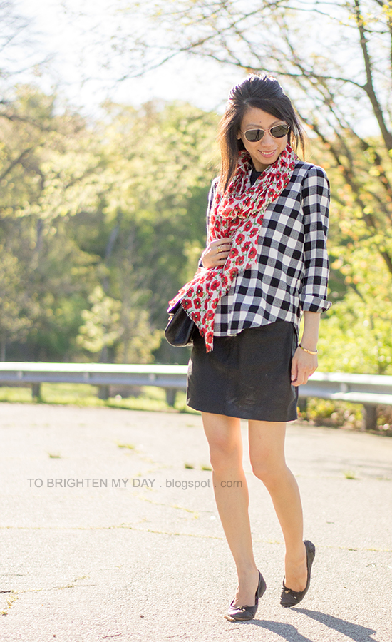 floral scarf, buffalo check shirt, faux leather dress