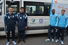 Chelsea footballers help to launch community bus service